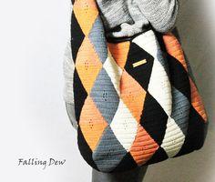 Crochet Handbag / HOBO, Shoulder Bag / Diamond Crochet / Handbag, Cotton / Full…