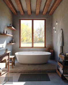 Avec ses vertus imperméables et anti-humidité, le tadelakt s'installe dans la salle de bain. Aux murs et au sol, avec une grande fenêtre et des poutres en bois, il apporte une atmosphère de détente. Tadelakt, Clawfoot Bathtub, Bathroom, Projects, Wooden Beam, Cement Render, Beams, The Heat, Big Windows