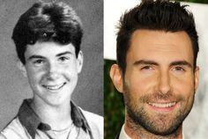 Adam Levine as an Eighth Grader at the Brentwood School in Los Angeles in 1993 and Adam Levine in 2012