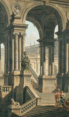 Madame Lesfressnge Architecture Baroque, Classic Architecture, Ancient Architecture, Sustainable Architecture, Landscape Architecture, Fantasy Places, Fantasy World, Fantasy Art, Roman History
