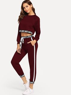 Color: Dark Red, Yellow, Black Material: Polyester Neckline: Round Neck Sleeve Length: Long Sleeve Decoration: Drawstring Fabric: Fabric has some stretch Ships in days Sporty Outfits, Trendy Outfits, Fall Outfits, Cute Outfits, Socks Outfit, Sweatpants Outfit, Teen Fashion, Fashion Outfits, Fashion Trends