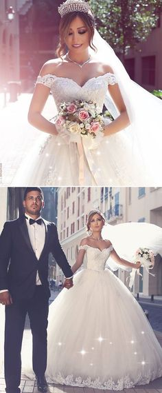 Glamorous Tulle Off-the-shoulder Neckline Ball Gown Wedding Dress With Lace Appliques