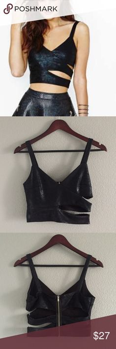Nasty Gal Make the Cut Crop Top Tank Nasty Gal Make the Cut Crop Tank Top in shimmery faux leather fabric in black.  Zips up in the back with fun cutouts. Size small- fits 0/2/4. Nasty Gal Tops Crop Tops