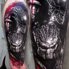 by @laky_tattoo . #best #tattoo #tattooartist #tattoosupport #tattooworldpub #like4like #likeforfollow #follow4follow #followbackalways #follow4followback Predator Tattoo, Predator Art, Alien Vs Predator, Evil Tattoos, Body Art Tattoos, Tattoo Ink, Tattoo Drawings, Cover Up Tatoo, Tattoo Sleeve Designs