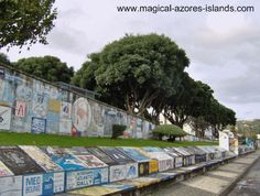 The tradition in the Horta Marina is for each ship to paint a picture before departing from their visit to the island of Faial. Superstition suggests that bad luck will occur for those who don't. There are hundreds, if not thousands of paintings on the marina walls and docks