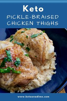 """Pickle-Braised Chicken Thighs with Cauliflower Rice Pickle-Braised Chicken Thighs & Cauliflower """"Rice"""". Tart and tangy pickle juice complements moist and tender budget friendly Keto chicken thighs served over a bed of seasoned cauliflower rice. Keto Chicken Thigh Recipes, Keto Chicken Thighs, Braised Chicken Thighs, Chicken Recipes, Cauliflower Gratin, Cauliflower Recipes, Cauliflower Rice, Lamb Recipes, Low Carb Recipes"""