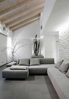 Modern Gray Living Room Luxury Modern Gray sofa In the Living In A Modern attic Room Loft Design, Home, Rustic Living Room, Modern Grey Sofa, Home And Living, Living Room Modern, Interior, Modern Grey Living Room, House Interior