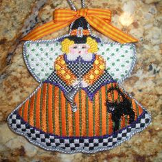 painted pony halloween angel needlepoint ornament