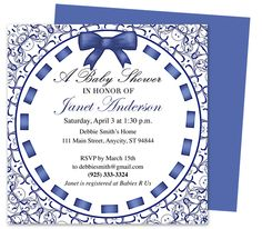 Baby Shower Invitation Templates : Chelsea Blue DIY Printable Shower Invitation Template