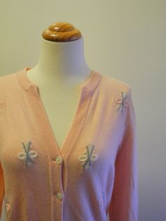 Pink CASHMERE 50s cardigan with BOWS sz Medium by ReallyTruly, $40.00