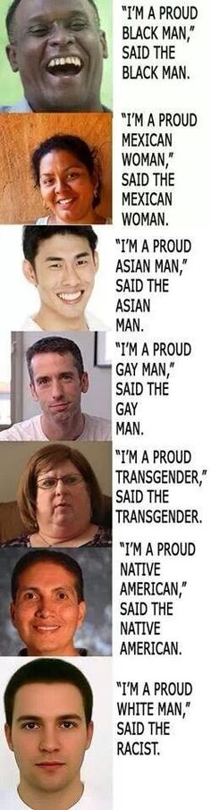 I'm as much against racism as the next guy, but it is a little ridiculous that a white person can't be proud of his own race because everyone judges him as a racist if he says one little thing about himself.