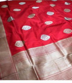 Red Silver Banarasi Pure handloom Katan Silk Saree