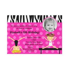 Gymnast Gymnastics Photo Birthday Invitations by Petit_Prints