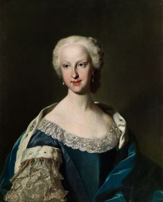 Jacopo Amigoni, 1682 Venice or Naples - 1752 Madrid, within PORTRAIT OF A LADY IN BLUE DRESS court 74 x 58 cm.