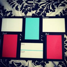 Picture frame dry erase boards for each week