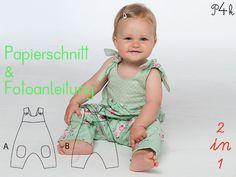 """Papierschnitt Baby Overall """"Lotte"""" in 2 Varianten von pattern4kids - Schnittmuster für Baby- und Kinderkleider als ebook download oder klassischer Papierschnitt mit Nähanleitung und vielen Bildern auf DaWanda.com"""