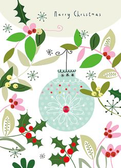HOLLY Holiday Card by Marianna Jagoda for CARTE distributed by Calypso Cards  Inside Greeting: and a Happy New Year!  Price: 3.95