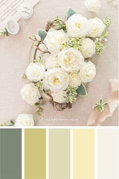 Color Schemes Colour Palettes, Green Colour Palette, Color Palate, Wedding Color Schemes, Color Combos, Wedding Colors, Interior Colour Schemes, Wedding Yellow, Rose Wedding