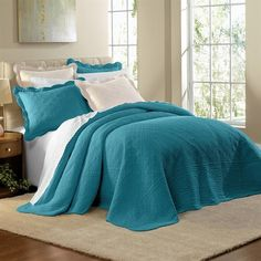 Teal Blue 100 Cotton Scalloped Textured Bedspread Queen