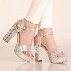 Platform Sandals Women Chunky Heel Pumps Ankle Straps High Heels Shoes Woman 3585