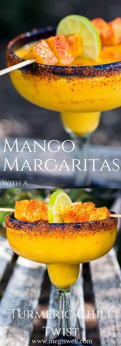 These Mango Margaritas spice things up a bit with a delicious turmeric simple sy. These Mango Margaritas spice things up a bit with a delicious turmeric simple syrup and a sprinkling of Tajin chili seasoning. Party Drinks, Cocktail Drinks, Fun Drinks, Yummy Drinks, Cocktail Recipes, Yummy Food, Beverages, Mango Cocktail, Mango Drinks