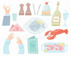 Seafood Restaurant Clip Art for Commercial Use - 00024