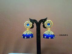 Designer Blue Silk Thread Jhumka