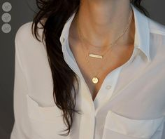 Gold Bar Necklace Layered Set of 3 Necklaces // by LayeredAndLong