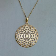 24k Gold Plated Geometric Pendat Necklace Fine by LinkedFields