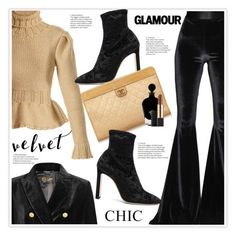 """Crushing on Velvet"" by stranjakivana ❤ liked on Polyvore featuring The Seafarer, Faith Connexion, Lemaire, Jimmy Choo, Chanel, EB Florals, Estée Lauder, velvet and polyvoreeditorial"
