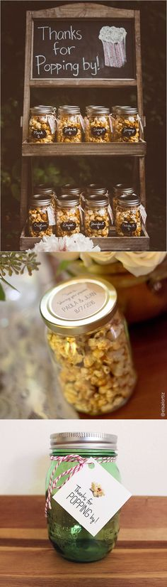 Popcorn in mason jars makes great party favors - just fill up mason jars with your favorite popcorn and add a label or a tag!