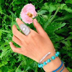 Sterling Silver Long ring Mandala Ethnic Tribal  ring, Silver Statement long Ring, Handmade  $42.00