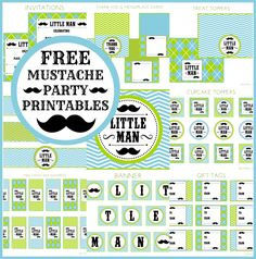 Free Full Set of Mustache Bash Printables #mustachebash #littleman #freeprintables