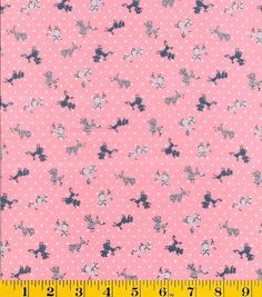 From the Gertie Collection! Poodles & Dots on Pink Cotton Lawn Fabric by YARD #Gertie