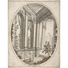 Vertical Oval Vignette of A Palace Interior with Two Figures Admiring Decoration a Craggy Mountain Seen Through a Window in The Far Distance Poster Print by Carlo Antonio Buffagnotti (Italian Bologna #italianinteriordesign