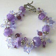 Lampwork bracelet Alexandrite color changing crystals silver beaded bracelet, beaded jewelry, lampwork jewelry, lavender bracelet