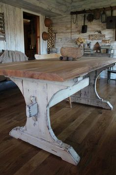 Oh I love that rustic, farmhouse table! I want me a large table near the kitchen so family can sit around chatting and cooking! @rosajoevannoy ✞