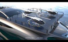 WEB LUXO – NÁUTICA: Mega-iate de luxo Xhibitionist tem super design e muita mod… - Vida de Luxúria Super Yachts, Floating Car, Luxury Helicopter, Vacation Meme, Private Yacht, Travel Humor, Travel Stuff, Luxury Yachts, Luxury Boats