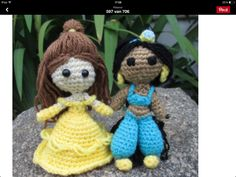 Cute Belle and Jasmine crochet. I'm sure I'm gonna make these someday.