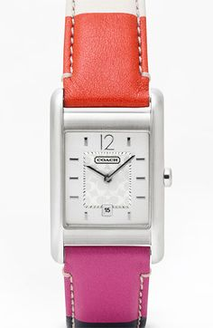 Time to get on my wrist!  COACH 'Carlisle' Square Leather Strap Watch available at #Nordstrom