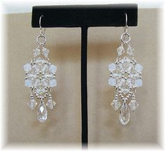 White Opal Mix Crystal Chandelier Earrings by BridalDiamantes, $35.00