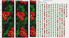 Bead crochet rope pattern - poppies - 6 colors, 22 around