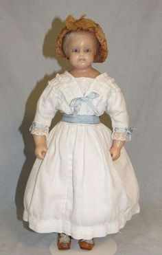 "14"" Poured Wax Doll, All-Antique - Faraway Antique Shop http://www.dollshopsunited.com/stores/faraway/items/1333340/14-Poured-Wax-Doll-All-Antique #dollshopsunited"