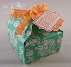 Stampin' Up! Envelope Punch Board to create this Tab Tie Box. Tutorial on my blog! Debbie Henderson, Debbie's Designs.