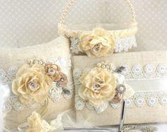 Almohada anillo de bodas Champagne marfil almohadilla por SolBijou