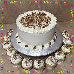 Vanilla Pecan Cake and cupcakes