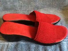 Women's Solid Red Pumps Slides Slip Ons MOOTSIE TOOTSIES Fabric Leather 9 1/2 M #MootsieTootsie #SLIDESSLIPONS