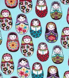 Novelty Cotton Fabric- Turquoise Matryoshka DollsNovelty Cotton Fabric- Turquoise Matryoshka Dolls,