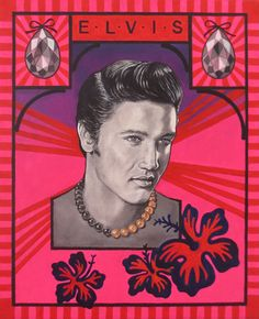 """Portrait of ELVIS PRESLEY  / Collection : """"My Icons"""" / oil + acrylic 38cm x 46cm / august 2013 / by Bianca Voce"""