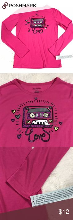 """NWT Xhilaration Sleepwear Top NWOT girls size XL pink cassette tape graphic Xhilaration Sleepwear long sleeve pajama top. 100% polyester.  Measurements (flat lay):  Armpit to armpit – 17"""" Length – 22 ½""""   Comes from a smoke free home!   New Without Tags. No rips, tears, holes or stains. Xhilaration Pajamas Pajama Tops"""